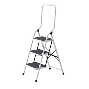SM-TT6043A White Protective Movable Folding Three Step Ladder with Handrail Stable Master